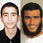 On left, Omar at 15 when he was taken into U.S. custody, and on right, after being detained for eight years