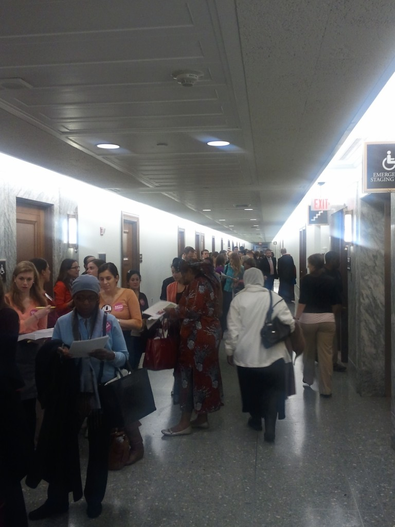The line to get into the CEDAW hearing!