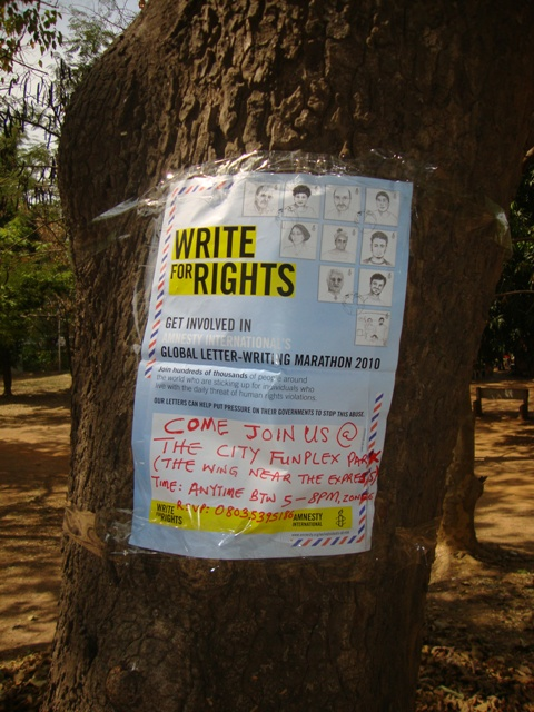 Spreading the word about Write for Rights in Nigeria