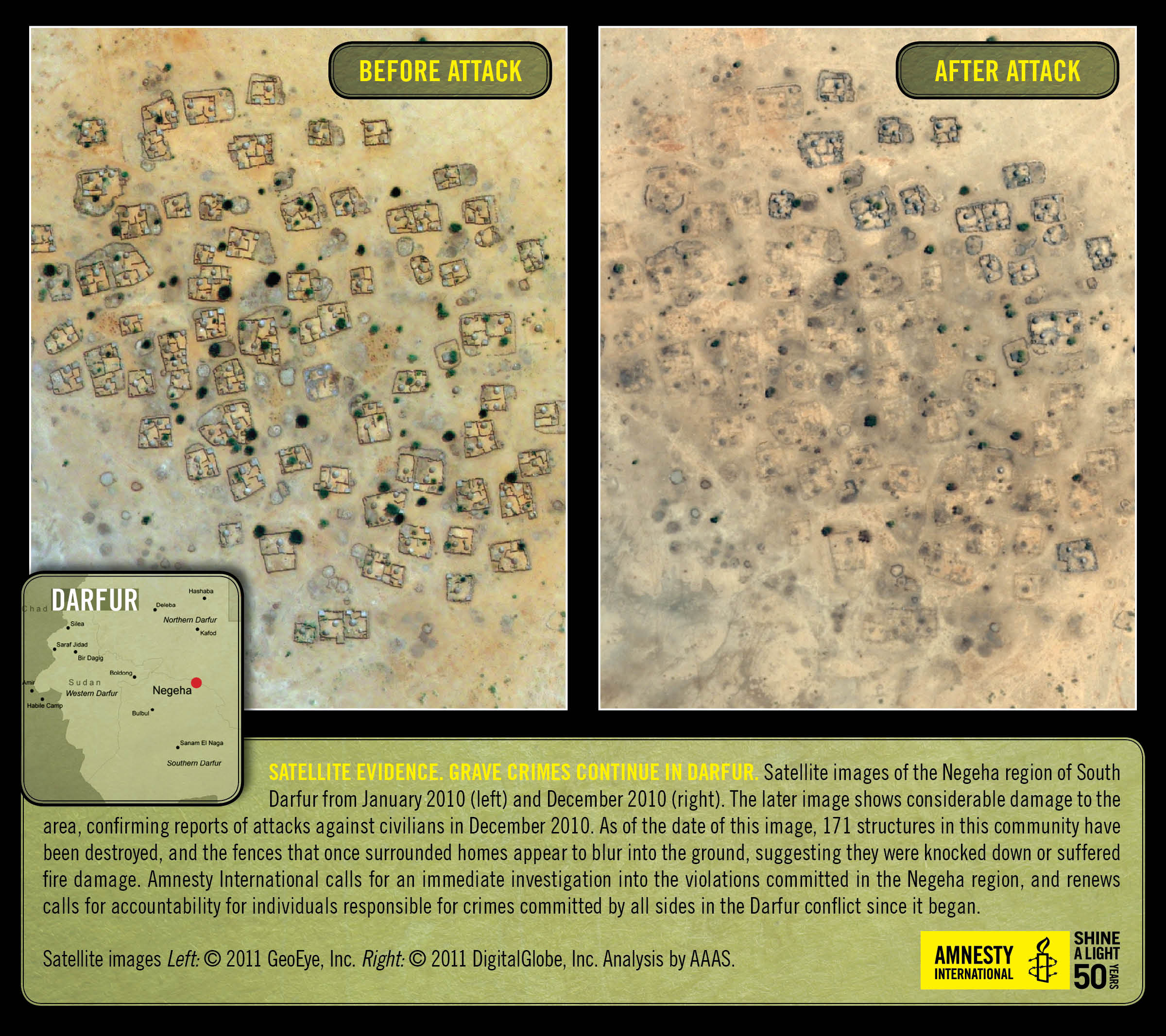 Before and after satellite images of destroyed villages in Darfur