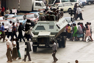Zimbabwe Riot Police In City Centre Intersection