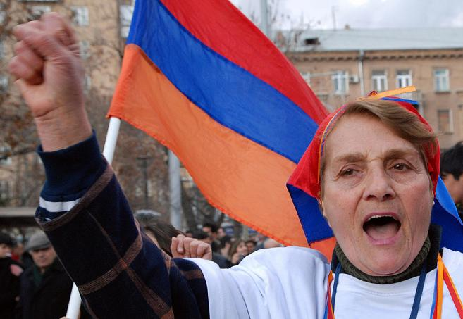 Armenian woman protests