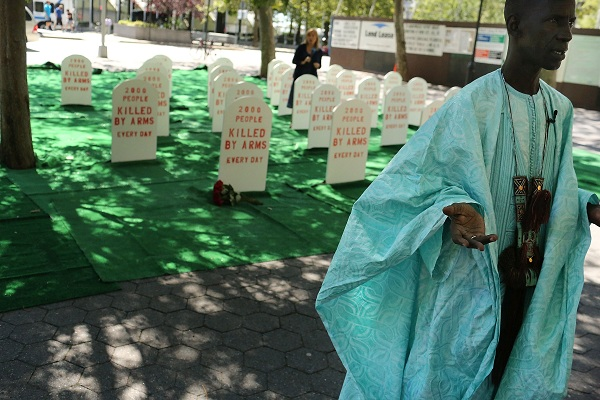 Arms Trade Treaty Activists Demonstrate Outside United Nations Headquarters