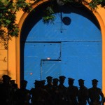 Sri Lankan policemen stand guard over prison