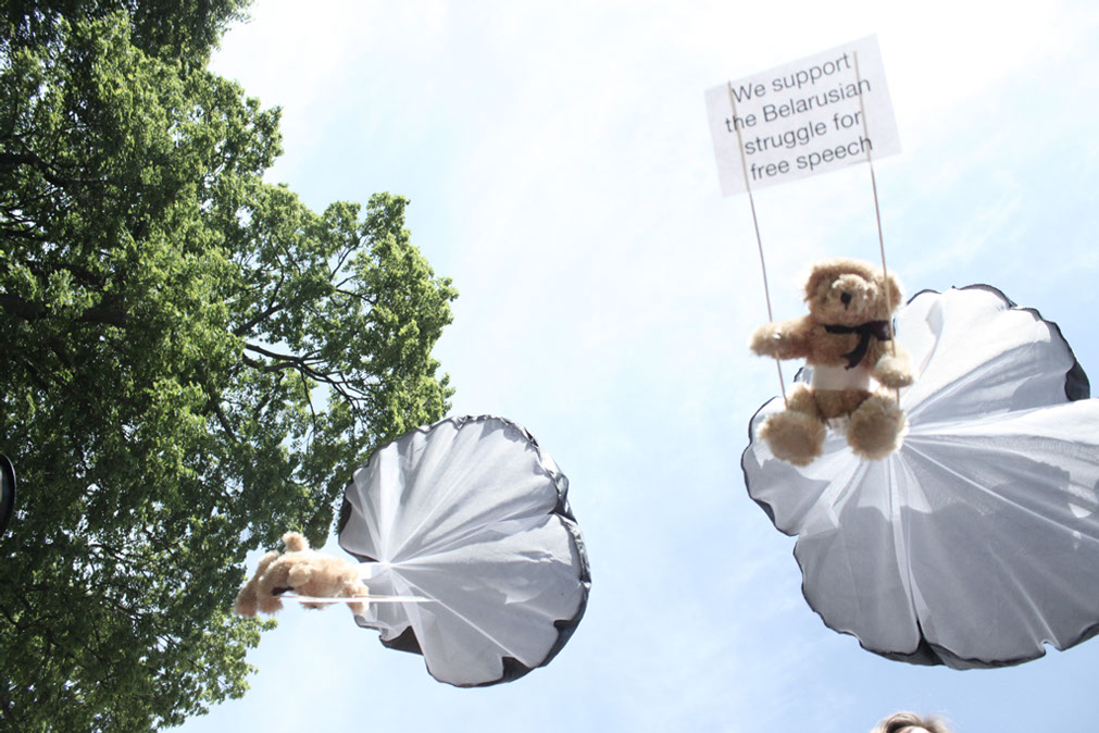 belarus teddy bears fly over minsk