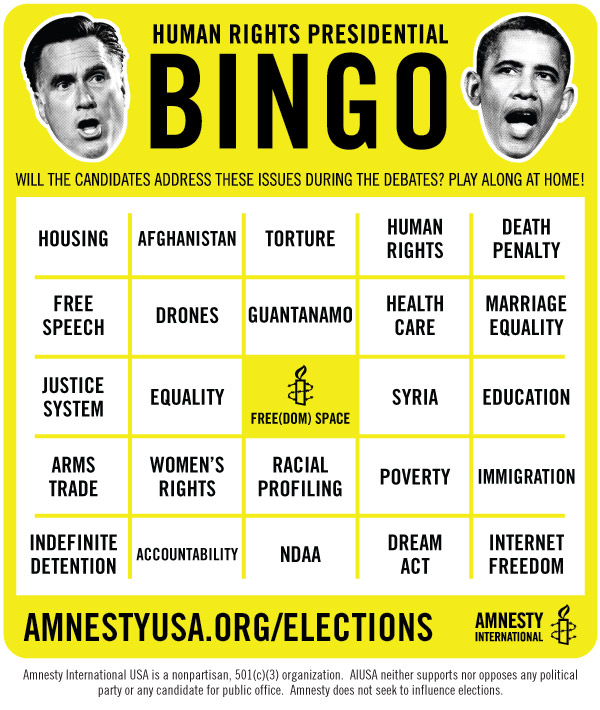 presidential debates bingo cards