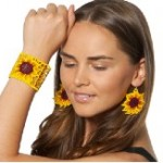 Fabric sunflower cuff and earring