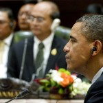 US President Barack Obama sits near Myanmar President Thein Sein as they participate in the US-Association of Southeast Asian Nations (ASEAN) meeting in 2011.  Photo credit: SAUL LOEB/AFP/Getty Images