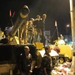 Protestors on a tank in Cairo, Egypt