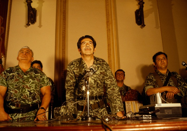 Brigadier General José Efraín Rios Montt, flanked by General Horacio Egberto Maldonado Schaad and Colonel Francisco Luis Gordillo Martínez, at first press conference on 23 March 1982, National Palace, Guatemala City.
