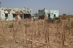 Residential buildings in Southern Kordofan show extensive damage from indiscriminate bombing by Sudanese Antonov planes.