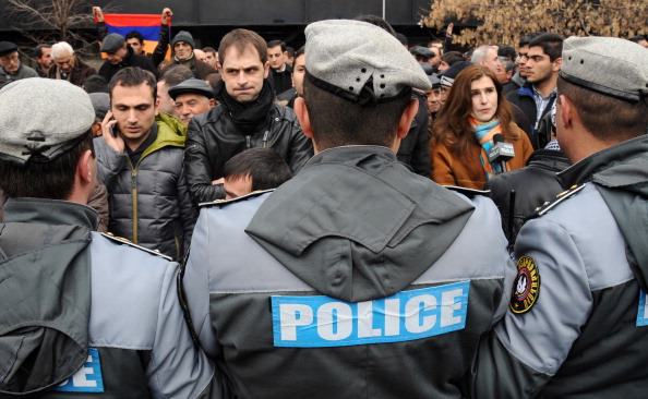 Narine Esmaeili was intimidated by Armenian police and the subject of an interrogation after she tried to stop massive ballot stuffing in Artashat's polling precinct (Photo Credit: Karen Minasyan/AFP/Getty Images)