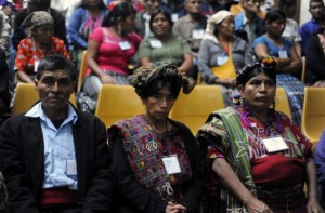 Relatives of victims of Guatemala's civil war attend the trial against former Guatemalan de facto President and retired General Jose Efrain Rios Montt  for genocide during his de facto 1982-83 regime. Rios Montt is accused of ordering the execution of 1,771 members of the indigenous Ixil Maya people in the Quiche region. The trial marks the first time genocide proceedings have been brought in relation to the 36-year civil war in Guatemala that ended in 1996, leaving an estimated 200,000 people dead, according to United Nations estimates (Photo Credit: Johan Ordonez/AFP/Getty Images).