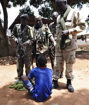 """In December last year, five rebel groups from Northern CAR came together to form the über-rebel group Seleka (meaning """"the alliance"""" in Sango, the national language of CAR) and began rapidly taking over towns in north and central CAR (Photo Credit: Sia Kambou/AFP/Getty Images)."""