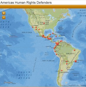 "Click to explore some emblematic human rights cases throughout the Americas, many of which have been positively influenced by the Inter-American System. These were taken from Amnesty International's report ""Transforming Pain into Hope: Human Rights Defenders in the Americas"" (Photo Credit: Katie Striffolino via ArcGIS)."