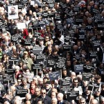 Journalists and activists participate in a rally for press freedom and against the detention of journalists under anti-terrorism laws in the capital of Ankara (Photo Credit: Ümit Bektas/Reuters).