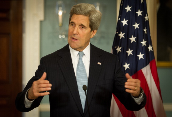 Secretary of State John Kerry spoke to how the 2013 Human Rights Reports were the foundation of U.S. foreign policy and a statement to the world that the U.S. is watching to make sure that foreign governments protect the human rights of their citizens (Photo Credit: Mladen  Antonov/AFP/Getty Images).