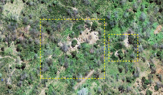 Satellite image of likely LRA camp in Kafia Kingi. Click to see full image . (Photo Credit: Digitial Globe 2013).