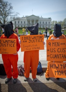 To mark the 100th day of the Guantanamo hunger strike, Amnesty International USA is holding a vigil outside the White House today with several other groups (Photo Credit: Mladen Antonov/AFP/Getty Images).