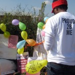 On April 24, EPOC (Ekurhuleni Pride Organising Committee) held a commemorative event in KwaThema to mark the 2nd anniversary of the murder of Noxolo Nogwaza. At the spot where her body was found, a memorial was erected, with messages and balloons. Amnesty International participated in the local event (Photo Credit: Amnesty International).