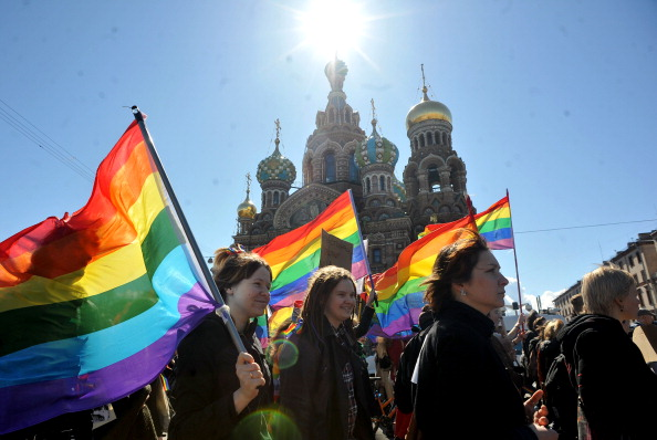Gay rights activists march in St. Petersburg (Photo Credit: Olga Maltseva/AFP/Getty Images).