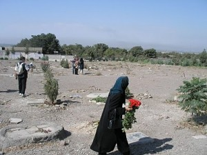 View from the main entrance of Khavaran cemetery, where many of the prisoners of the 1988 prison massacre are believed to be buried (Photo Credit: Jafar Behkish).