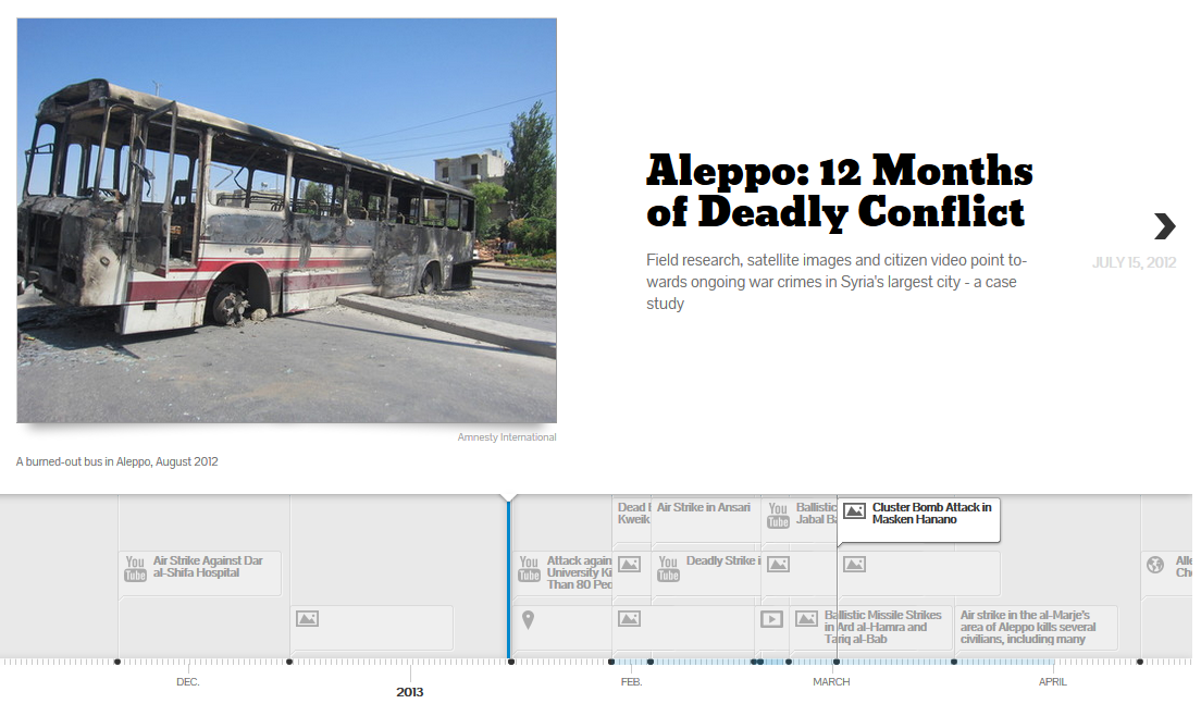 12 Months of Deadly Conflict in Alepp. Explore the interactive timeline that include satellite images, citizen video and field research.