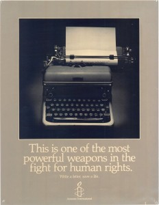 Amnesty International USA Poster, 1990. A letter is one of the most elementary ways to express an opinion (Photo Credit: Amnesty International).