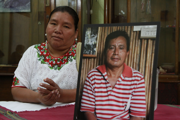 Angelica Choc during a press conference announcing a legal suit against Canadian mining company Hudbay Minerals for the murder of her husband Adolfo Ich (pictured) in Guatemala City (Photo Credit: James Rodriguez, mimundo.org).