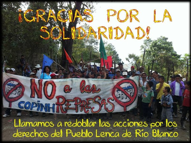 'Thank you for your solidarity' from the Civic Council of the Indigenous and Popular Organizations of Honduras (COPINH) (Photo Credit: COPINH).