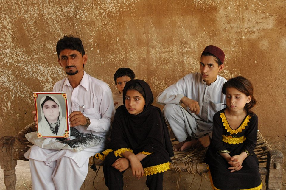 Mamana Bibi's son Rafi qul Rehman (left) and his children Safdar (back), Nabeela, Zubair and Asma. They have yet to receive any acknowledgement that a US drone strike killed her, let alone justice or compensation for her death.