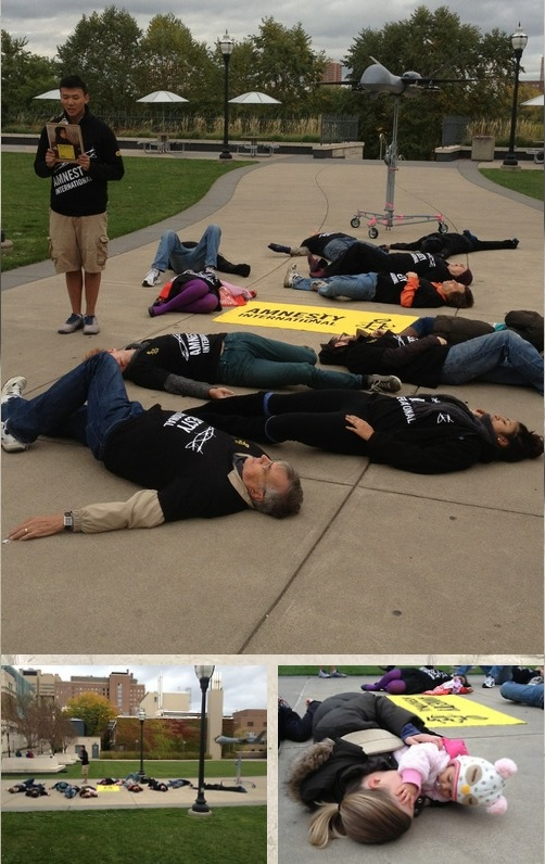 Amnesty USA #GameOfDrones Die-In Action at the University of Minnesota