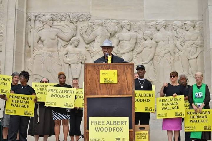 "Freed ""Angola 3"" member Robert H. King speaks outside the Louisiana State Capitol to free Albert Woodfox after 41 years in solitary confinement."