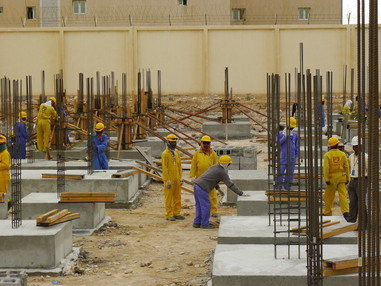 Migrant construction workers in Doha © Amnesty International.