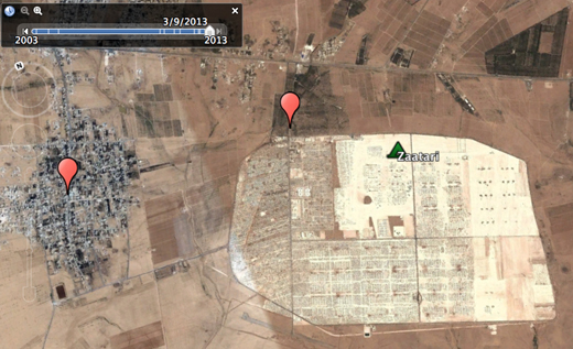 Massive syrian refugee crisis visible from space zaatari refugee camp in jordan march 2013 click to explore image digitalglobe gumiabroncs Image collections