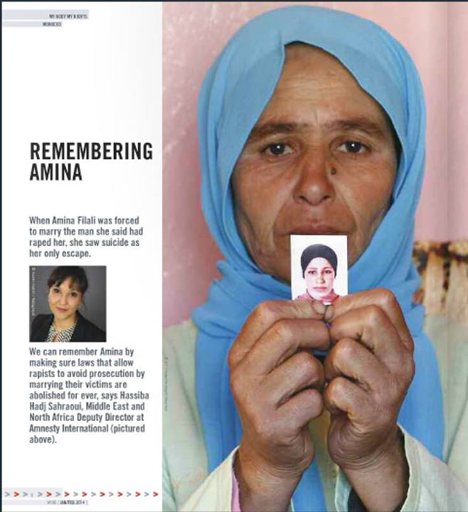 Zohra Filali holds a picture of her daughter, Amina, the week after she committed suicide. Amina took her own life by drinking rat poison in March 2012 after being forced to marry the man who allegedly raped her.