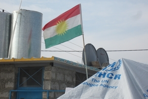 The Kurdistan, not the Iraqi, flag flies over the refugee camps in the KRI © Amnesty International.