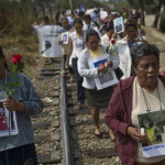 A group of 33 Central American women traveling in a caravan across Mexico in search of migrant relatives (Photo Credit: Ronaldo Schemidt/AFP/Getty Images).