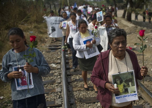 A group of 33 Central American womeA group of 33 Central American women traveling in a caravan across Mexico in search of migrant relatives (Photo Credit: Ronaldo Schemidt/AFP/Getty Images)