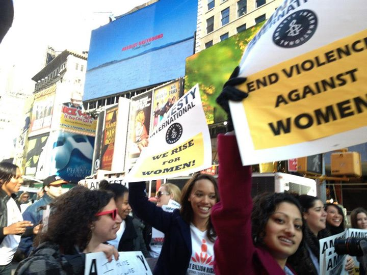 Amnesty activists at One Billion Rising demonstration in Times Square last year (Photo Credit: Amnesty International).