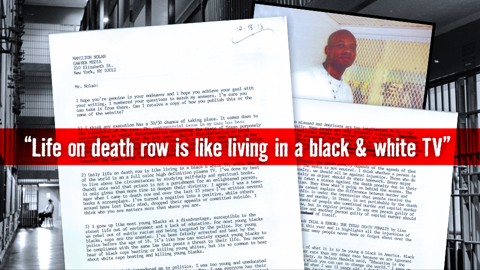In December 2013, Gawker sent letters to all U.S. death row inmates who had executions scheduled in the upcoming year. They received their first reply from Ray Jasper, who is scheduled to be put to death on March 19 (Photo Credit: Gawker)