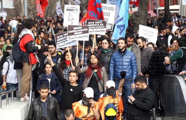 People hold placards reading 'Will you censor the streets?' during a demonstration against new Internet controls approved by the Turkish Parliament (Photo Credit: Adem Altan/AFP/Getty Images) .