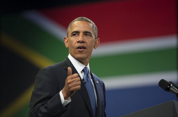US President Barack Obama speaks during a town hall style meeting at the University of Johannesburg Soweto in Johannesburg, South Africa, June 28, 2013. (Photo credit: JIM WATSON/AFP/Getty Images)