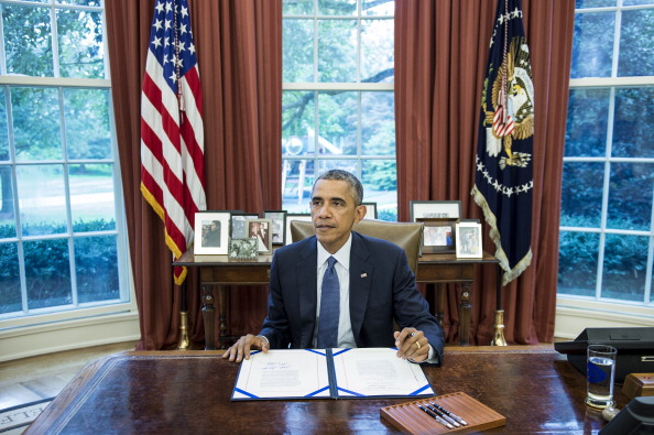 President Barack Obama issued an executive order imposing sanctions against former President Djotodia on May 13, 2014.  (Photo credit: BRENDAN SMIALOWSKI/AFP/Getty Images)