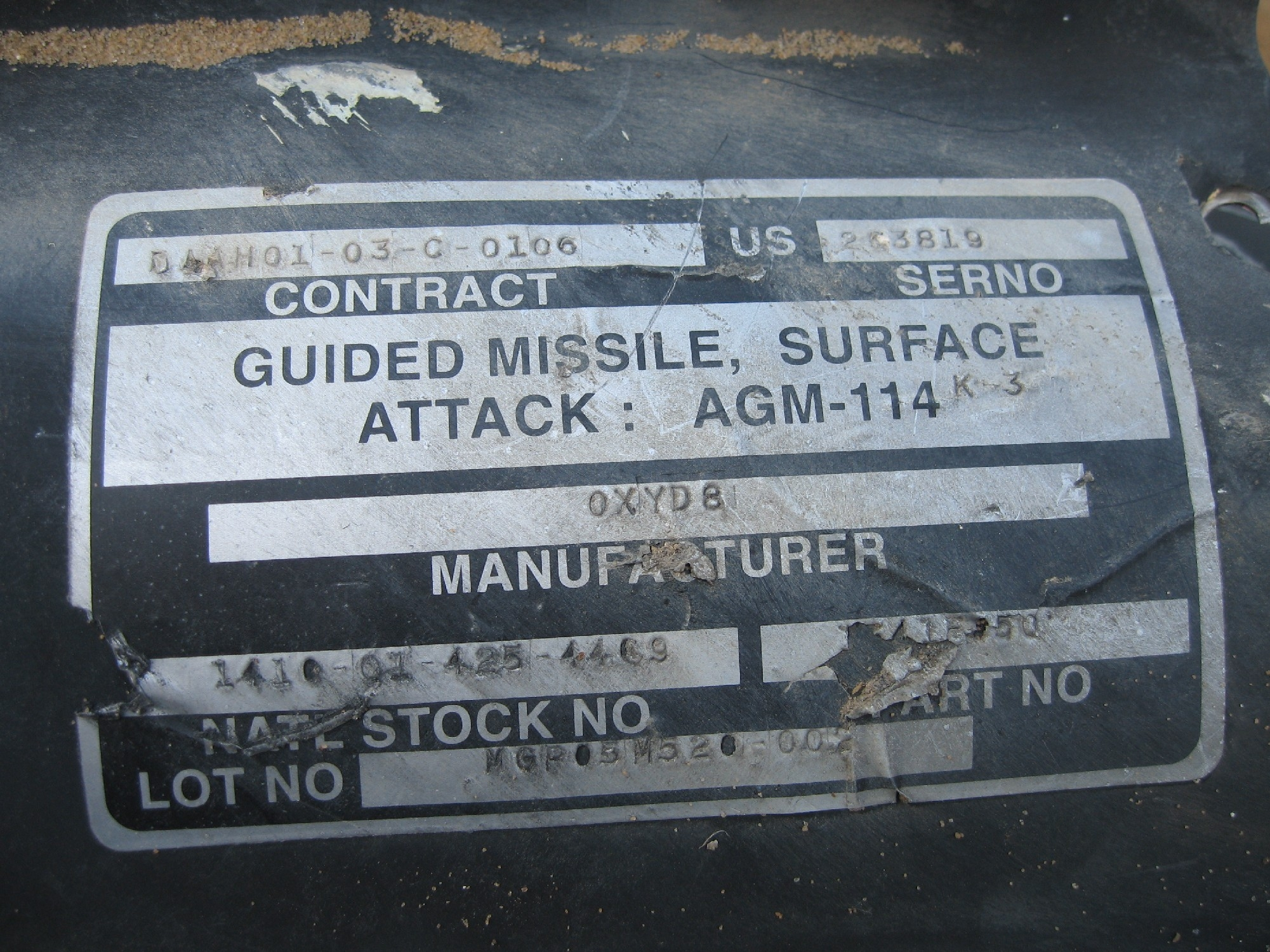 U.S.-made Hellfire missile linked to killing of a child and three  medics in Gaza by Israeli forces during operation Cast Lead, January 4, 2009. (Photo Credit:  Amnesty International)
