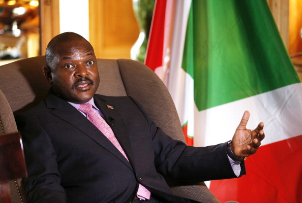 Burundian President Pierre Nkurunziza talks during an interview at the Westin hotel in Paris on June 4, 2014. (Photo credit: Francois Guillot/AFP/Getty Images)