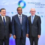 Swaziland King Mswati III poses with European Commission President Jose Manuel Barroso and EU Council president Herman Van Rompuy prior to the 4th EU-Africa summit in April. (Photo credit: Georges Gobet/AFP/Getty Images)