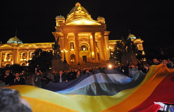 LGBT activists demonstrate in front of the Serbian Parliament, September 27, 2013 in Belgrade.  (ANDREJ ISAKOVIC/AFP/Getty Images)
