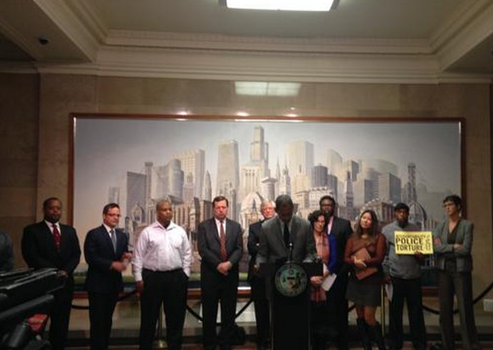 Oct 2, 2014 - Press conference with Alder attorneys, activists and Burge torture survivors calling on the City Council and Mayor Emmanuel to pass the ordinance providing Reparations for the Chicago Police Torture survivors.