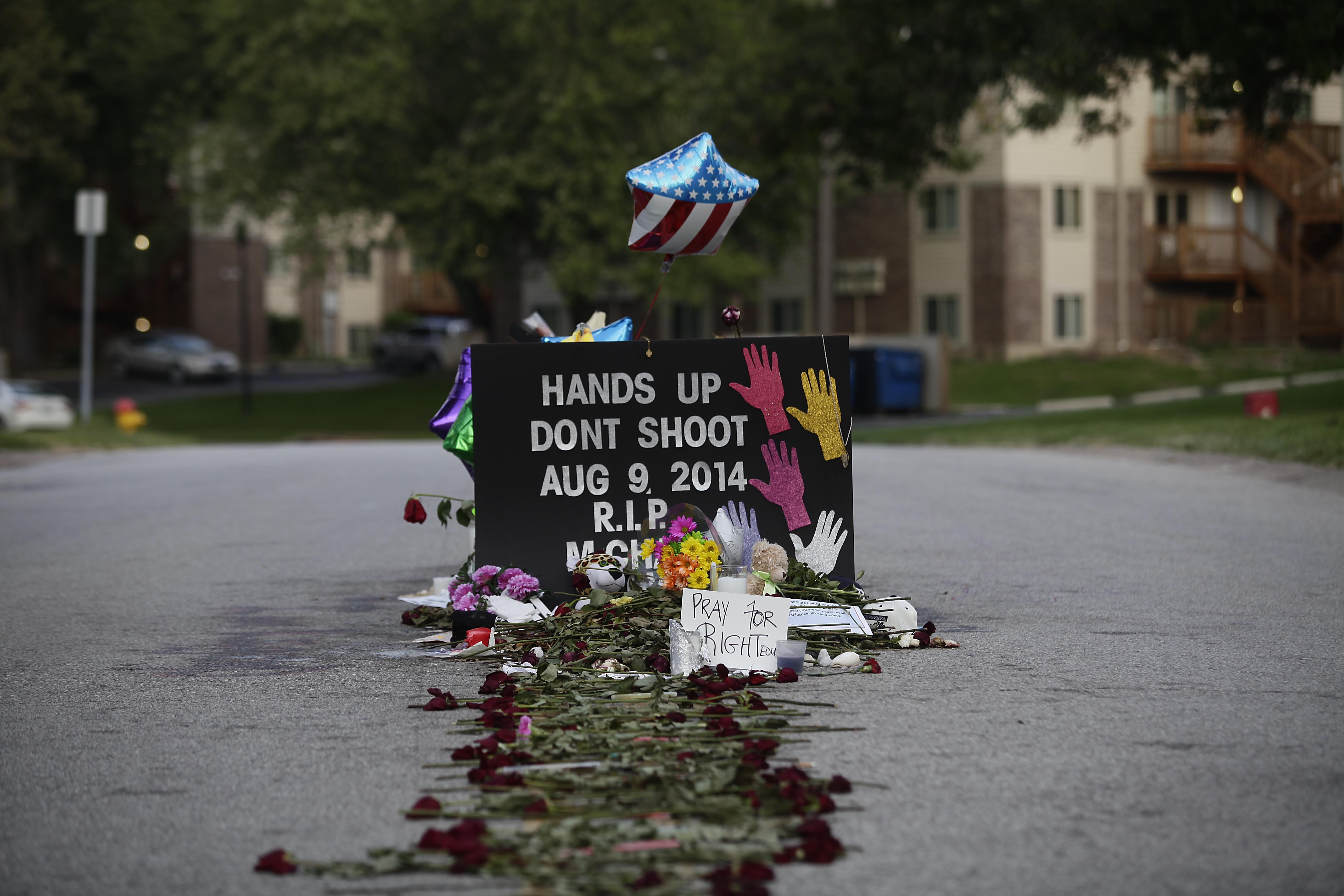 Memorial for Michael Brown on August 22, 2014 in Ferguson, Missouri. Joshua LOTT/AFP/Getty Images